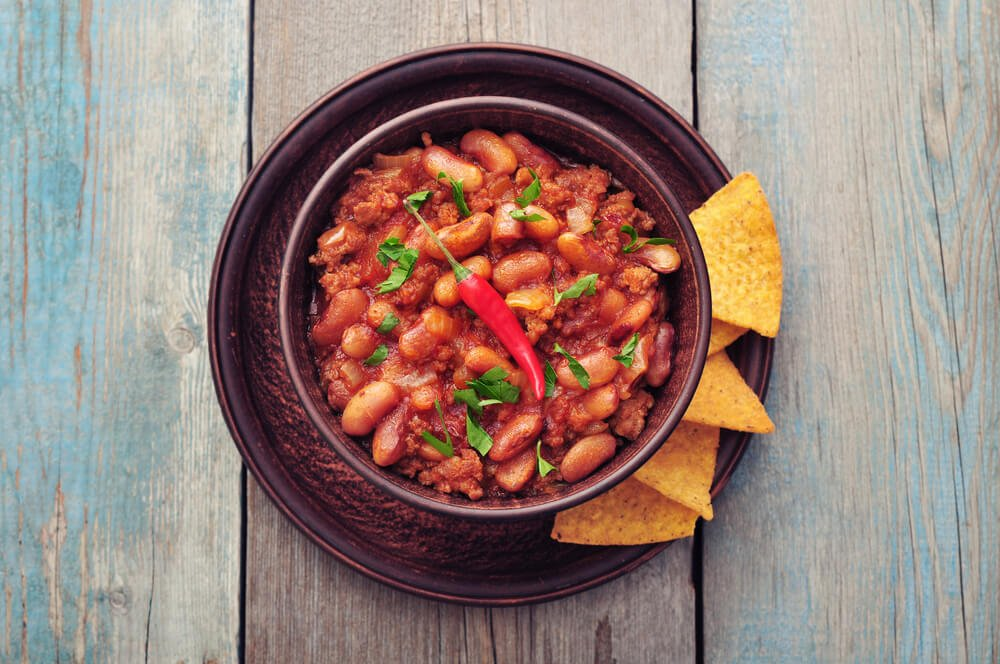 Refried beans with bacon and chili